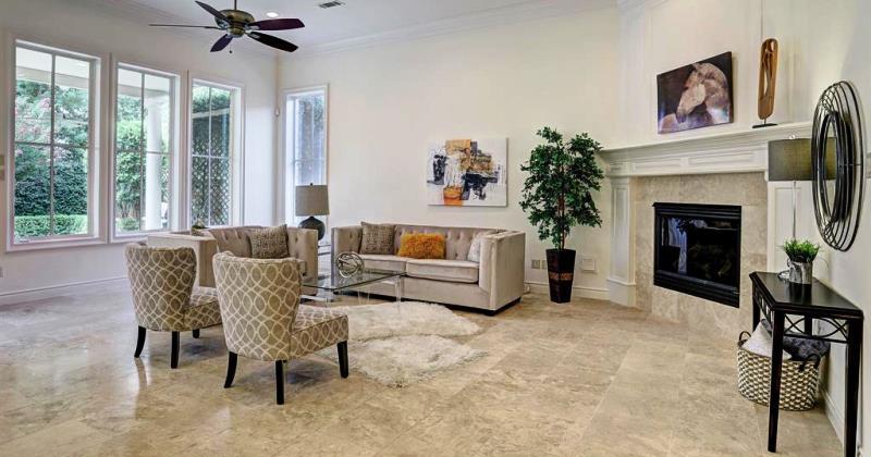 Living room with travertine floors