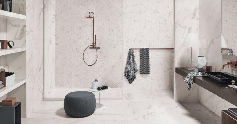 Marble effect bathroom tile ideas
