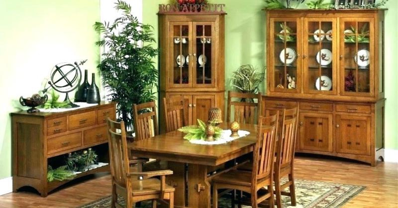 Oak corner hutch dining room