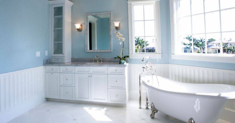 Small bathroom blue and white