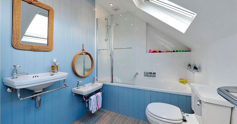 Small blue and gray bathrooms