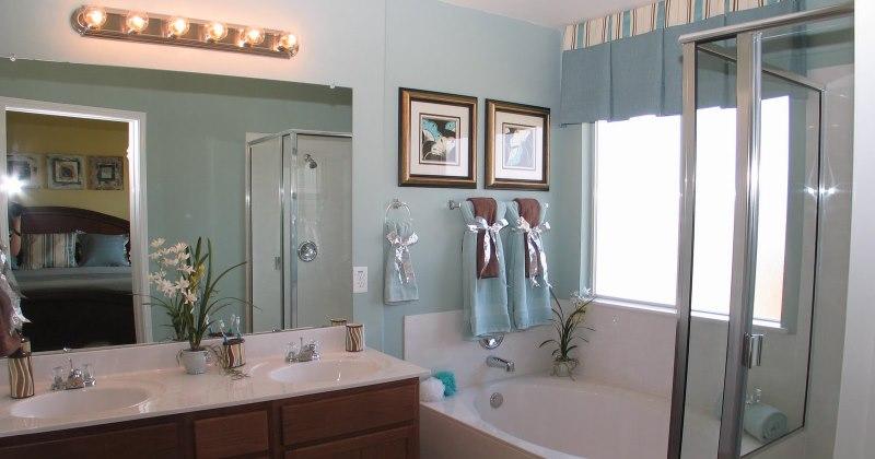 Small blue bathroom vanity