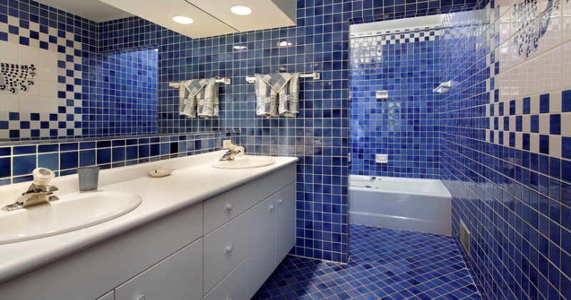 Small blue mosaic tiles bathroom