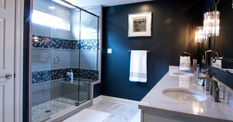Small dark blue bathroom ideas