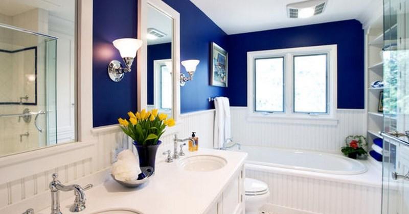 Small dark blue bathroom