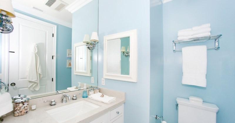 Small light blue bathroom
