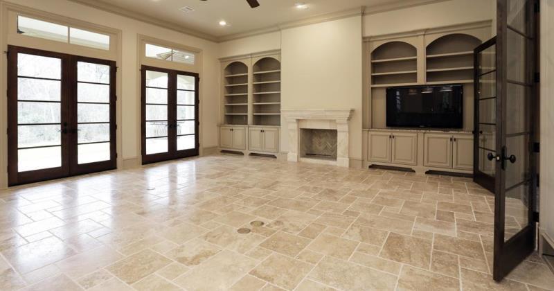 Travertine floors in living room