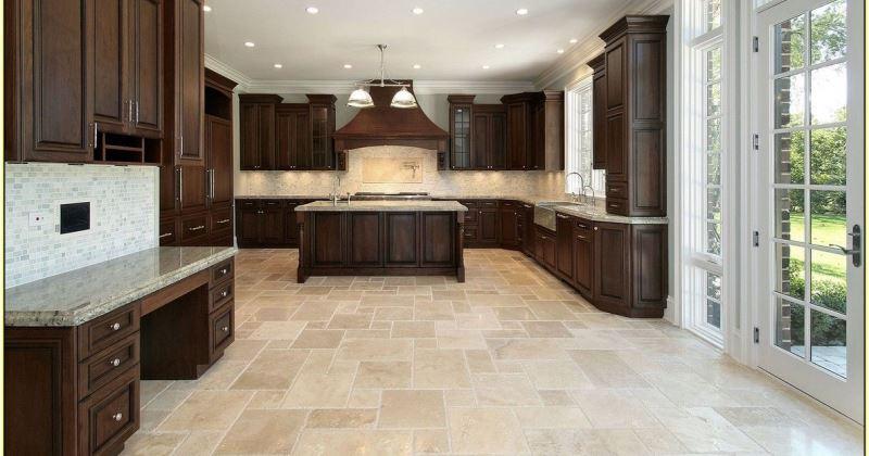 Travertine in kitchen floor