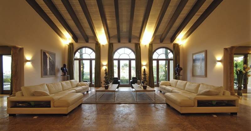 Travertine living room floor