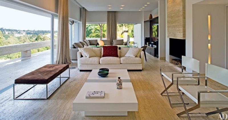 Travertine living room