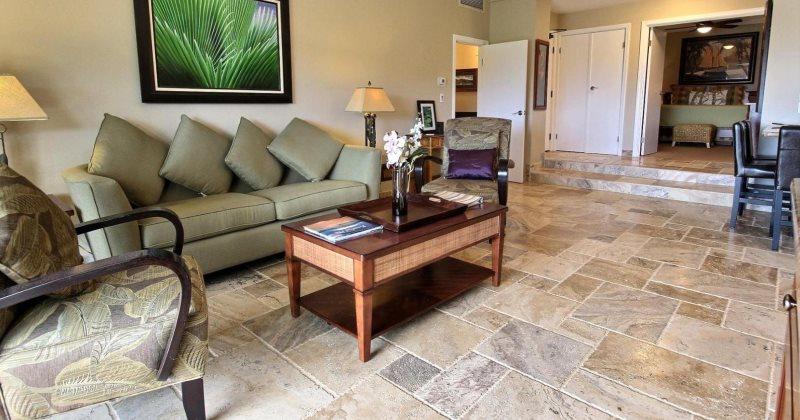 Travertine tile in living room