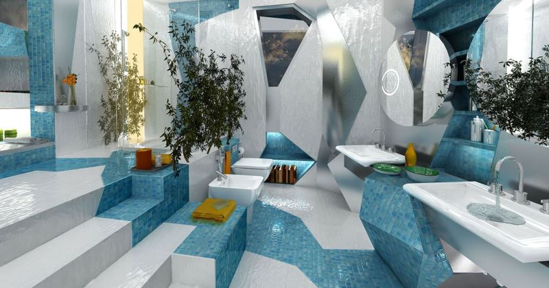 Unique futuristic bathroom design