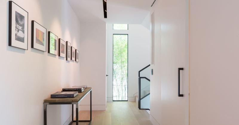 White hallway art wall